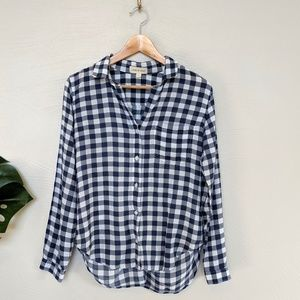 Cloth & Stone blue and white checked shirt